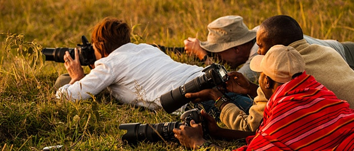 Guests working with interesting angles on a photograpy workshop with wildlife photographer Richard Costin