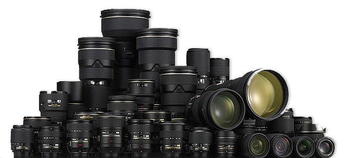 A big pile of Nikon lenses from the Nikkor range