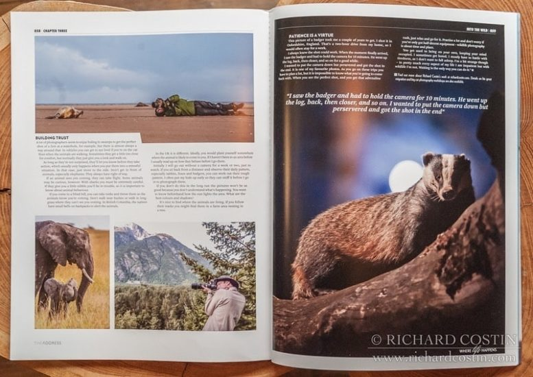 Wildlife photography magazine article, Richard Costin